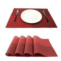 GEFEII Deluxe PVC Woven Vinyl Non-Slip Heat-Resistant Grid Placemats Kitchen Dining Party Environmental Table Mats Place Mats Pad Cushion (Red, 4)