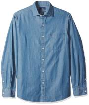 BUTTONED DOWN Men's Classic Fit Indigo Denim Cotton Sport Shirt