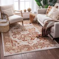"Well Woven Millie Tribal Copper Rust Medallion Area Rug 3x5 (3'11"" x 5'7"") Modern Distressed Oriental Plush Super Soft Carpet"