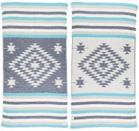 Bersuse 100% Cotton Carmen Dual-Layer Handloom Turkish Towel-37X70 Inches, Dark Blue/Turquoise
