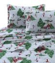Tribeca Living SNMANSHEETCKRG Printed Flannel Deep Pocket Sheet Set, Cal King, Snowman Red/Green