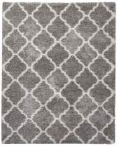 Gertmenian True Shags Collection Geometric Gray Shag Rug 8x10 - Soft Olefin Yarn 2 Inch Thick in Luxury Charcoal Tile Solid Color Area Rugs