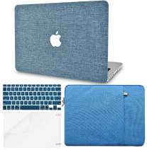 """KECC Laptop Case for MacBook Air 13"""" w/Keyboard Cover + Sleeve + Screen Protector (4 in 1 Bundle) Plastic Hard Shell Case A1466/A1369 (Blue Fabric)"""