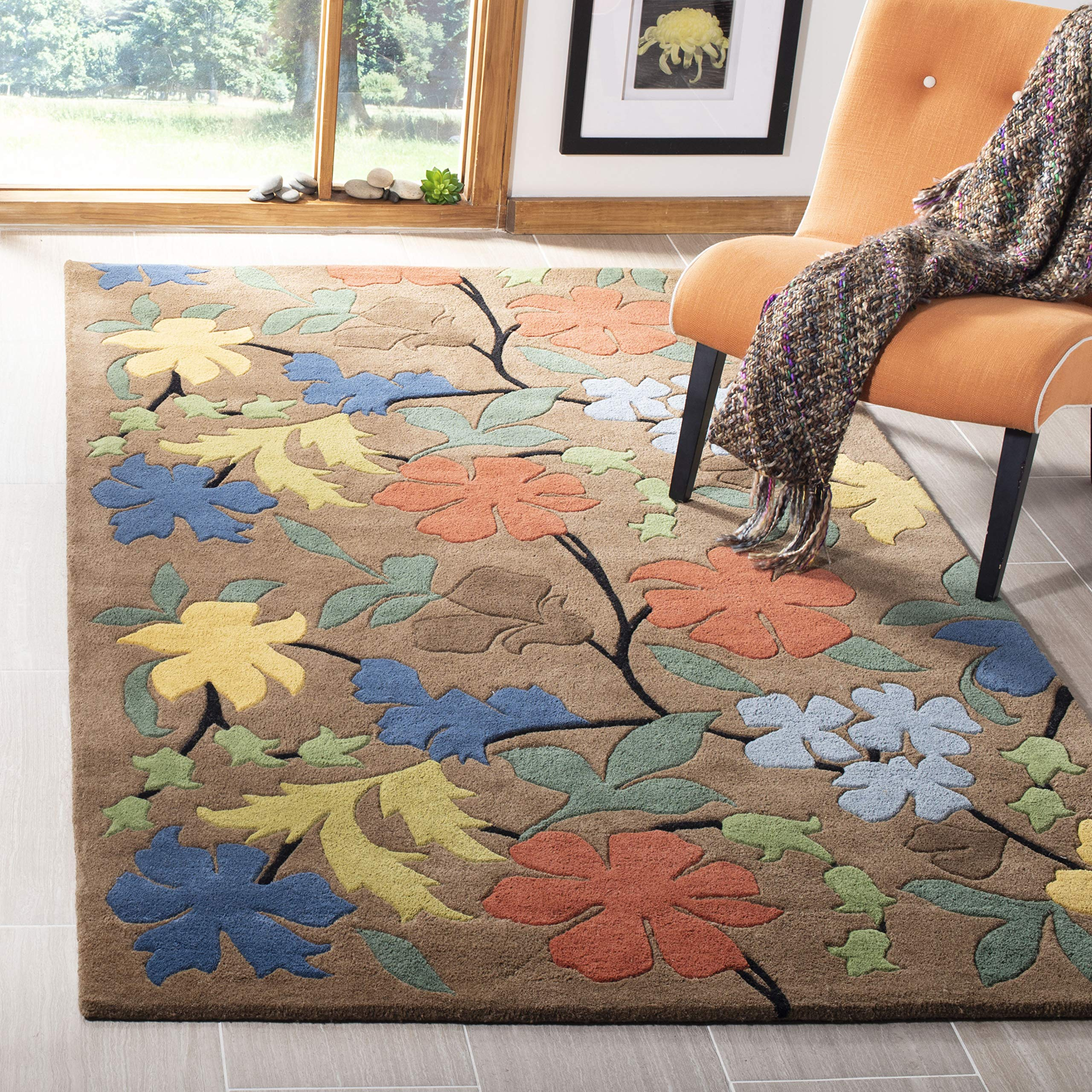 Safavieh Soho Collection SOH737A Handmade Brown and Multi Premium Wool Square Area Rug (8' Square)