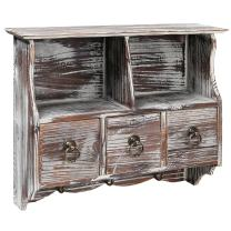 Country Rustic Torched Wood Wall-Mounted Organizer Shelf Rack/Wall Cabinet with Drawers & Metal Hooks - MyGift