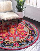 Unique Loom Medici Collection Abstract Botanical Vibrant Colors Pink Round Rug (6' 0 x 6' 0)