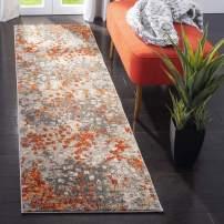 "Safavieh Monaco Collection MNC225H Modern Boho Abstract Watercolor Runner, 2' 2"" x 16', Grey/Orange"
