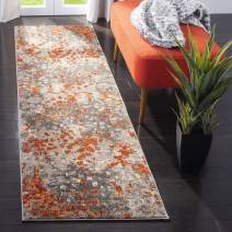 "Safavieh Monaco Collection MNC225H Modern Boho Abstract Watercolor Runner, 2' 2"" x 10', Grey/Orange"