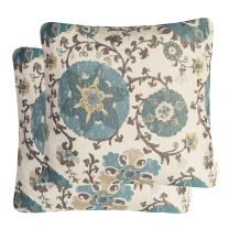 Mika Home Pack of 2 Jacquard Circle Floral Throw Pillow Case Decorative Pillow Cover for 22X22 Inserts Cream Blue
