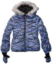 LONDON FOG Girls' Big Quilted Puffer Jacket with Mittens