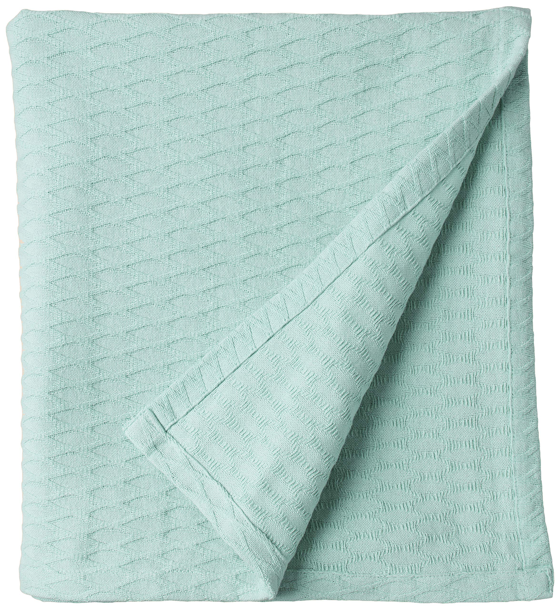 SUPERIOR 100% Cotton Thermal Blanket, Soft and Breathable Cotton for All Seasons, Bed Blanket and Oversized Throw Blanket with Luxurious Diamond Weave - Twin Size, Aqua