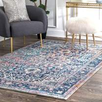 nuLOOM Raylene Persian Vintage Square Rug, 8' Square, Blue