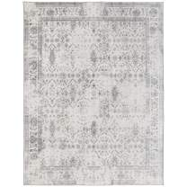 ReaLife Machine Washable Rug - Stain Resistant, Non-Shed - Eco-Friendly, Non-Slip, Family & Pet Friendly - Made from Premium Recycled Fibers - Vintage Distressed Trellis - Ivory-Grey, 3'x5'