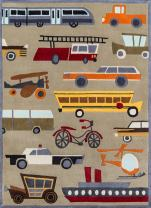 Momeni Rugs Lil' Mo Whimsy Collection, Kids Themed Hand Carved & Tufted Area Rug, 3' x 5', Concrete Grey