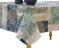 """Elrene Home Fashions Vinyl Tablecloth with Polyester Flannel Backing Paisley Scroll Easy Care Spillproof, 52""""x70"""", Taupe Blue Green"""