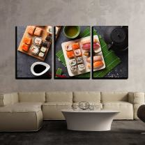 """wall26 - 3 Piece Canvas Wall Art - Set of Sushi and Maki Roll and Green Tea on Stone Table. Top View - Modern Home Decor Stretched and Framed Ready to Hang - 24""""x36""""x3 Panels"""