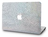 """KECC Laptop Case for MacBook Air 13"""" Retina (2020/2019/2018, Touch ID) Plastic Case Hard Shell Cover A2179/A1932 (Silver Gliter)"""
