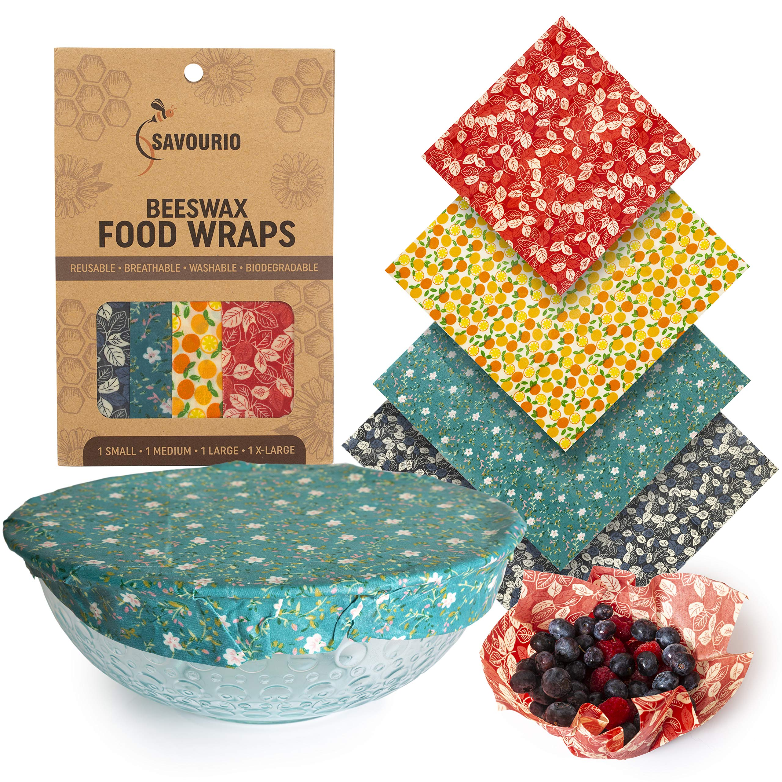 Reusable Beeswax Food Wrap, Zero Waste, Beeswax Wrap, Eco Friendly, Organic, Bees Wax Food Storage Wrappers Cling Sandwich, Alternative To Plastic Bags, Sustainable Products (Plant)
