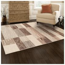 Superior Modern Rockwood Collection Area Rug, 8mm Pile Height with Jute Backing, Textured Geometric Brick Design, Anti-Static, Water-Repellent Rugs - Slate, 5' x 8' Rug