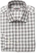 Van Heusen Men's Flex Collar Regular Fit Plaid Spread Collar Dress Shirt