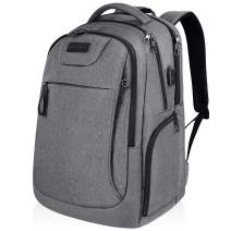 KROSER Laptop Backpack for 17.3 Inch Laptop Anti-Theft Large Computer Backpack with USB Charging Port Water-Repellent Casual Daypack for Travel/Business/School/College/Men/Women-Grey