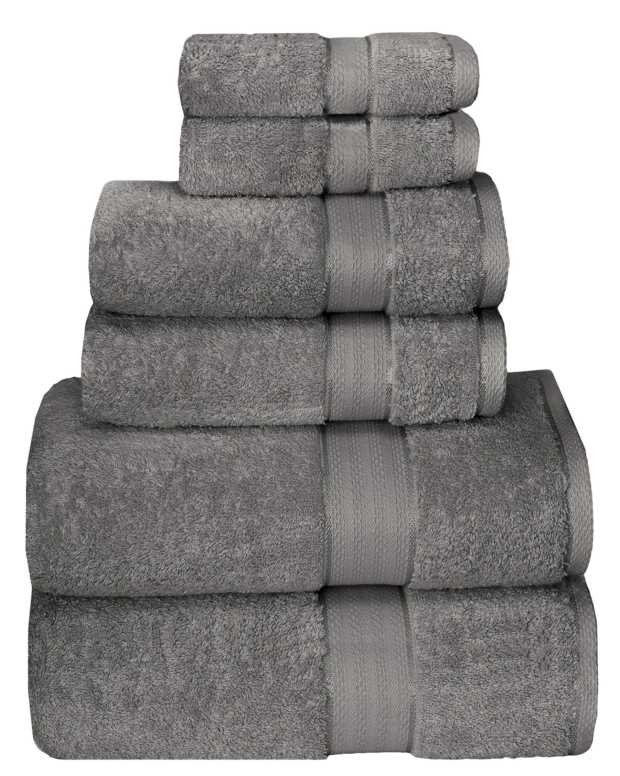 GLAMBURG 700 GSM Premium Cotton 6-Piece Towel Set - 100% Combed Cotton - Luxury Hotel & Spa Quality - Durable Ultra Soft Highly Absorbent - Charcoal Grey
