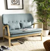 Safavieh Home Ellaria Modern Blue and Natural Settee Loveseat with Pillows