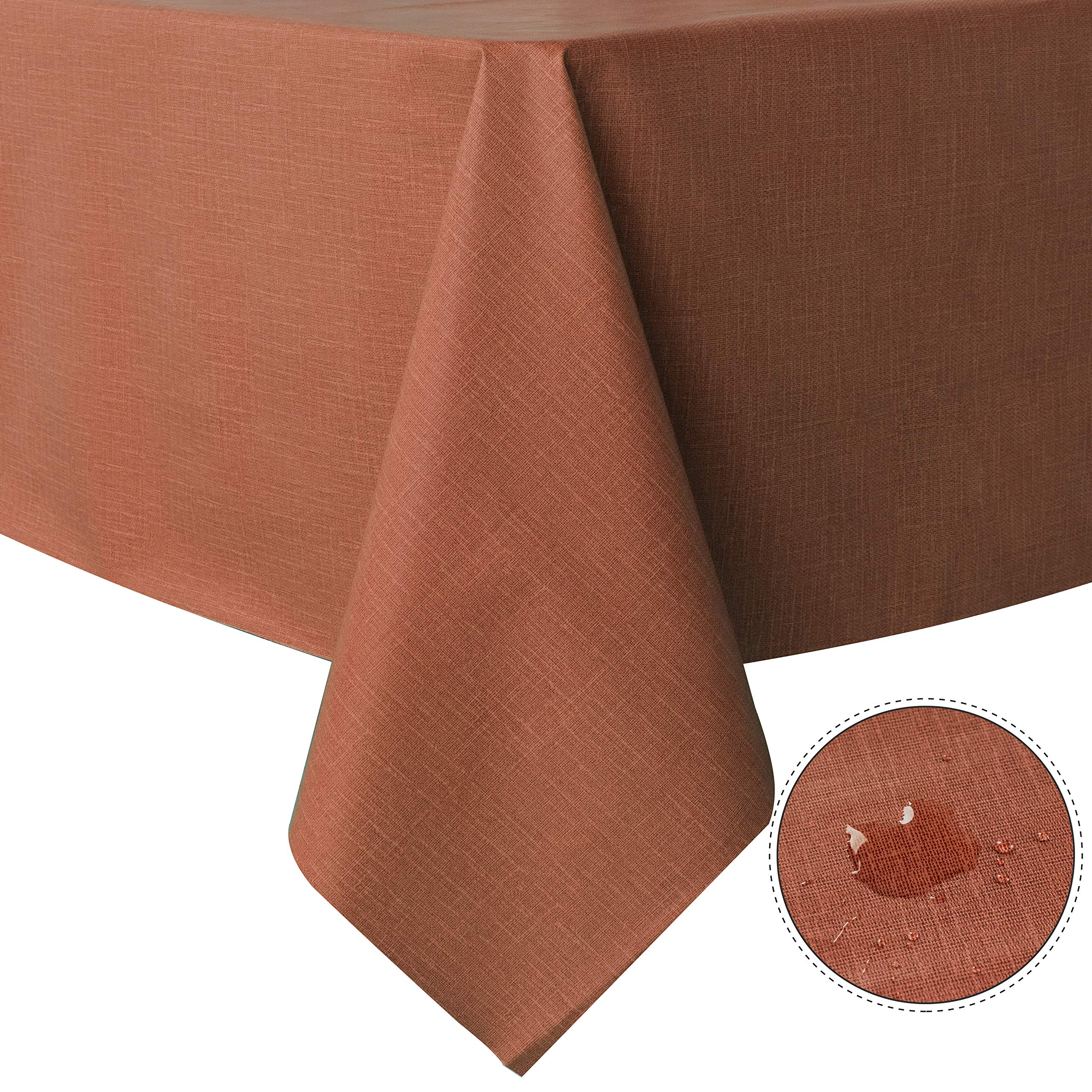 sancua 100% Waterproof Rectangle PVC Tablecloth - 52 x 70 Inch - Oil Proof Spill Proof Vinyl Table Cloth, Wipe Clean Table Cover for Dining Table, Buffet Parties and Camping, Orange