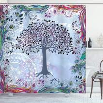 """Ambesonne Nature Shower Curtain, Tree of Life Motif with Peacock Feathers Tribal Vintage Primitive Nature Illustration, Cloth Fabric Bathroom Decor Set with Hooks, 75"""" Long, Bluegrey"""