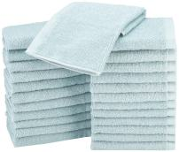 AmazonBasics Fast Drying, Extra Absorbent, Terry Cotton Washcloths, Ice Blue - Pack of 24