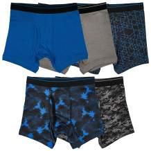 Trimfit Boys 100% Cotton Tagless Boxer Briefs Underwear 5-Pack