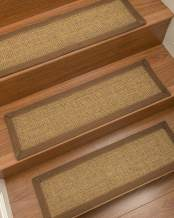 "NaturalAreaRugs Tan/Multi Sorrento DIY Pet Friendly Handmade Sisal Carpet Stair Treads/Rugs Safety Slip Resistant for Kids, Elders, and Dogs. 9"" x 29"" (8), Sienna Border"