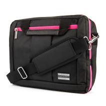 VanGoddy El Prado 3-in-1 Messenger + Backpack + Briefcase Transformer for up to 12.3 inch Tablets - Black/Magenta