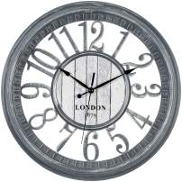 Bernhard Products Large Wall Clock 16 Inch Gray Noiseless Battery Operated Quality Quartz Rustic Shabby Chic Vintage Design for Kitchen/Living Room/Bedroom/Decorative Stylish Rustic Farmhouse Clocks