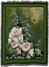 Pure Country Weavers Hollyhock Hummingbird Throw Blanket Perfect for Hummingbird Lovers and Collectors Large Woven Cotton Made in The USA 72x54