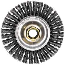"""Weiler 13131 ROUGHNECK MAX 4"""" Stringer Bead Wheel, .020"""" Steel Fill, 5/8""""-11 UNC Nut, Made in the USA"""