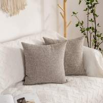 Kevin Textile Pillow Cover Faux Linen Toss Soft Throw Cushion Case for Couch, Invisible Zipper, 18x18 inches (Set of 2, Sesame Grey)