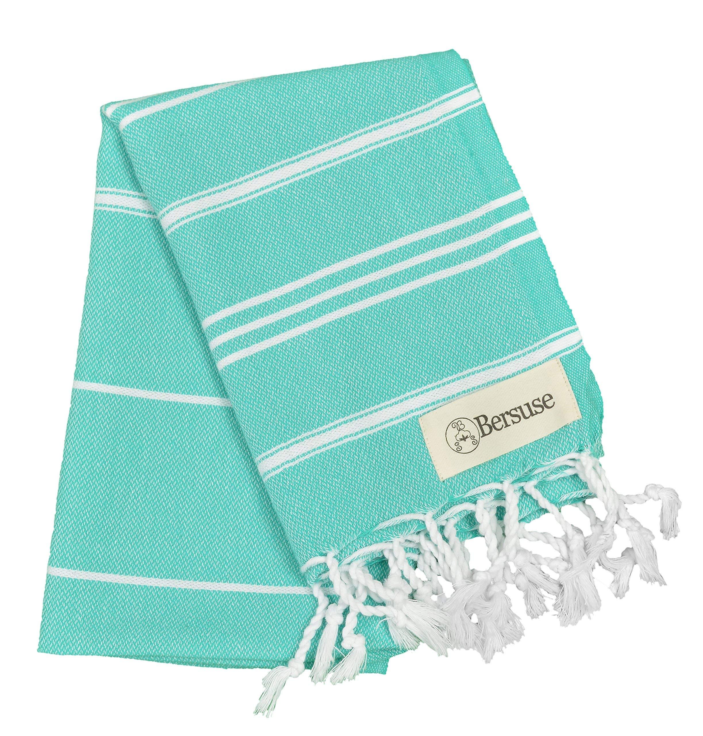 Bersuse 100% Cotton - Anatolia Hand Turkish Towel Pestemal - Baby Care Kitchen Tea Dish Washcloth - Travel Gym Head Hair Face Peshtemal - Classic Striped - 22X35 Inches, Mint Green