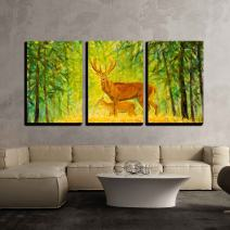 """wall26 - 3 Piece Canvas Wall Art - Original Oil Painting of Deer with a Small Deer in The Autumn Forest on Canvas - Modern Home Decor Stretched and Framed Ready to Hang - 16""""x24""""x3 Panels"""