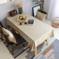 Home Brilliant Tablecloth Soft Linen Solid Farmhouse Checker Table Covers for Party Kitchen Indoor Outdoor Table Clothes for Dining Table, 52x72 inch, Natural