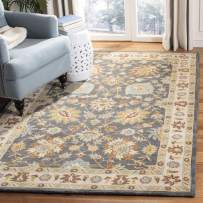 Safavieh Classic Collection CL934A Handmade Traditional Oriental Dark Grey and Ivory Wool Area Rug (5' x 8')