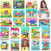MALLMALL6 20Pcs Mosaic Sticker Art Kits for Kids DIY Mosaic Art Crafts Foam Stickers 3D Puzzle Drawing Sticker Craft Activities Early Learning Games Handmade Art Kit for Preschool Toddlers Boys Girls