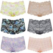 Curve Muse Women's Pack of 6 Comfort Sheer Lace Tanga Hipster Boyshorts Panties