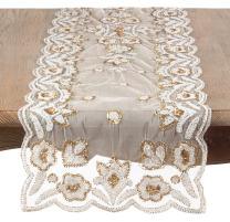 "Saro Lakshmi Collection Gold Hand Beaded Design Table Runner-16 x 72"" Oblong, 16""x72"""