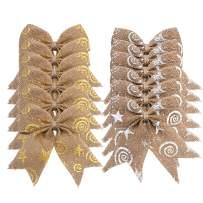 Aokbean 12 pcs Snowflakes Natual Burlap Bows Christmas Tree Topper Bow Rustic Wedding Decor Burlap or DIY Supplies (Gold+Silver)