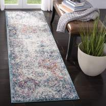 "Safavieh Madison Collection MAD611N Bohemian Chic Vintage Distressed Runner, 2' 3"" x 16', Navy/Teal"