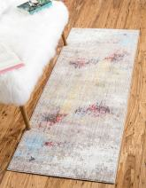 Unique Loom Downtown Collection by Jill Zarin Collection Abstract Modern Vintage Watercolor Pastel Tones Multi Runner Rug (2' 2 x 6' 0)