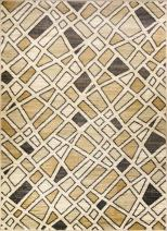 ADGO Atlantic Collection Modern Abstract Geometric Soft Pile Contemporary Carpet Thick Plush Stain Fade Resistant Easy Clean Bedroom Living Dining Bedroom Area Rug (3' x 5', 5906A - Beige Tan)