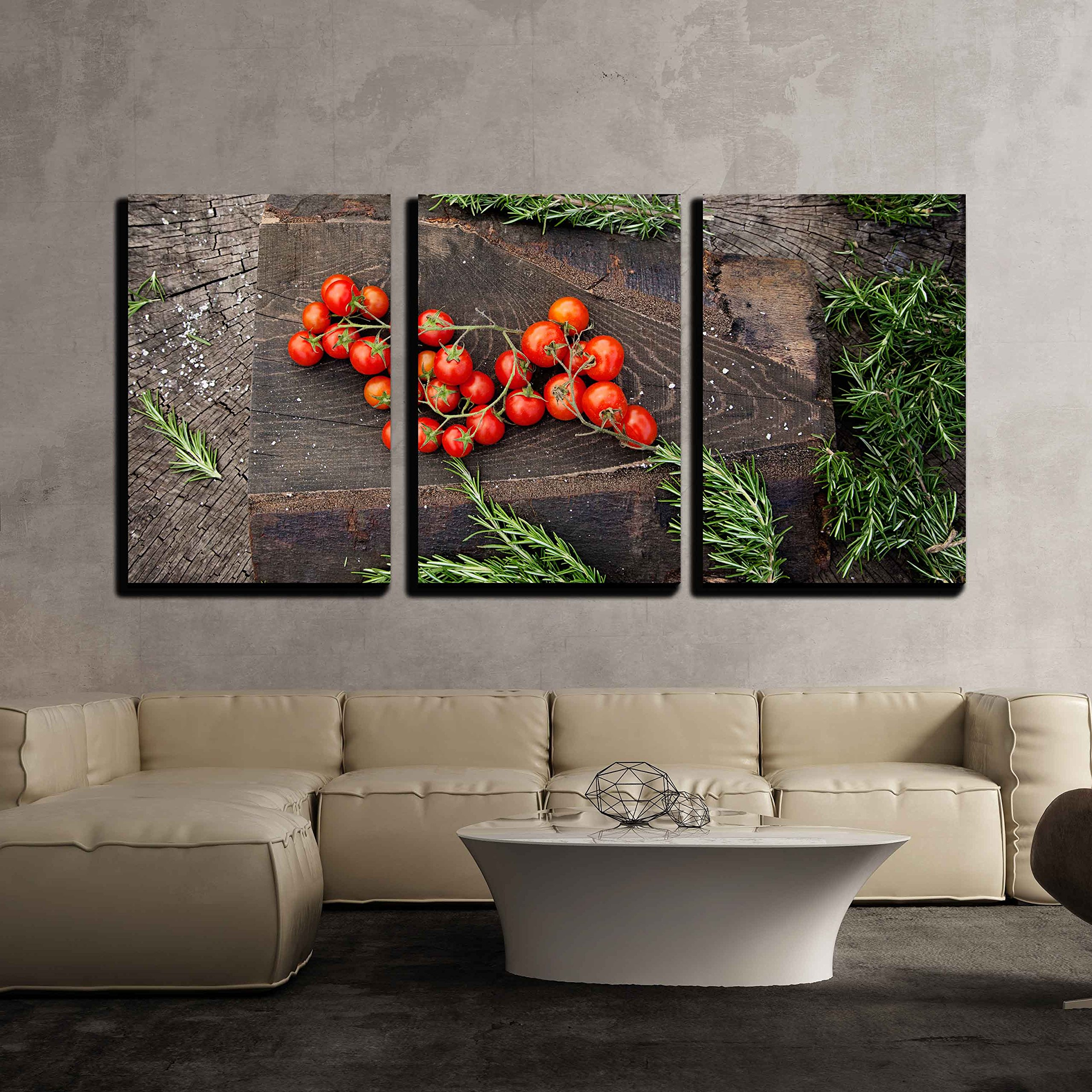 """wall26 - 3 Piece Canvas Wall Art - Fresh Vegetables. Cherry Tomatoes with Rosemary on Wood in Vegetable Garden - Modern Home Decor Stretched and Framed Ready to Hang - 16""""x24""""x3 Panels"""