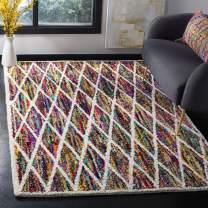 Safavieh Nantucket Collection NAN313A Handmade Abstract Diamond Trellis Multicolored Cotton Area Rug (8' x 10')